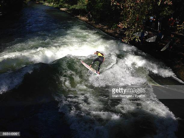 High Angle View Of Man Surfing On Eisbach River