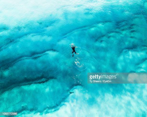 High Angle View Of Man Swimming In Blue Sea