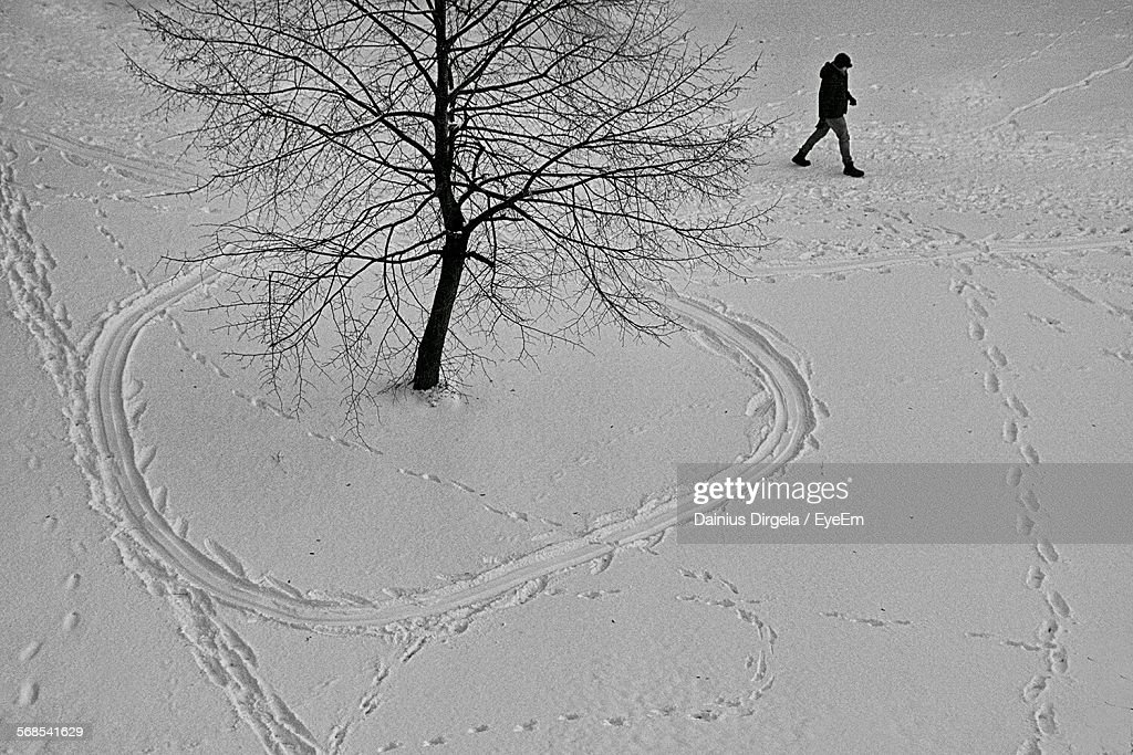 High Angle View Of Man Walking On Snow Covered Field : Stock Photo