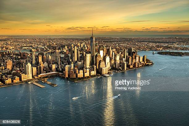 High angle view of Manhattan island