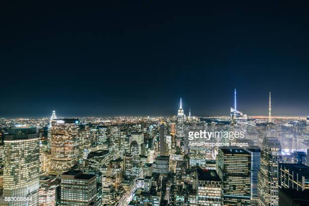 High Angle view of Manhattan Skyline at Night