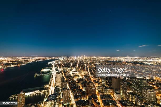 High Angle view of Manhattan Skyline at Night