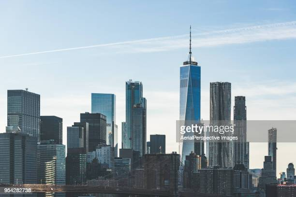 high angle view of manhattan skyline - lower manhattan stock pictures, royalty-free photos & images