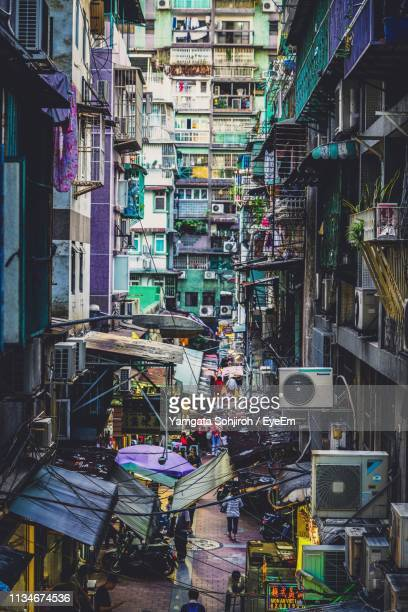 high angle view of market in city - macao stock pictures, royalty-free photos & images