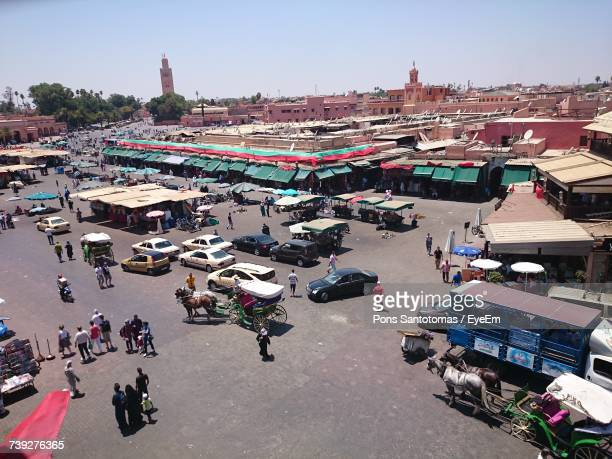 High Angle View Of Market Stall In City
