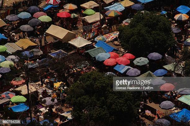 High Angle View Of Market Stalls