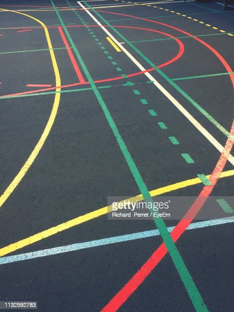 high angle view of marking on sports track - bombe photos et images de collection