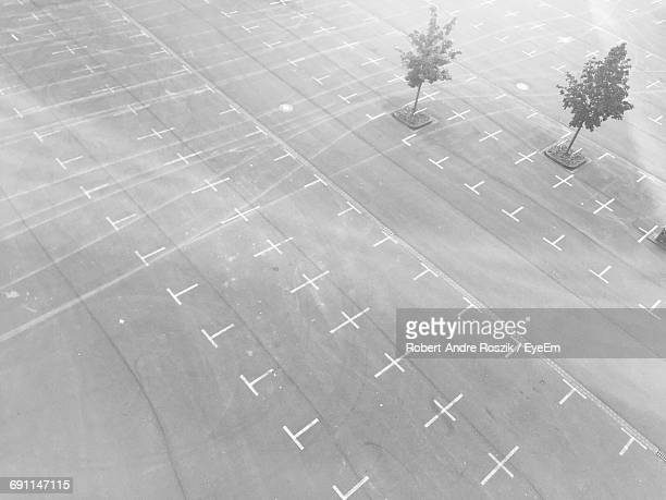 High Angle View Of Markings On Empty Parking Lot