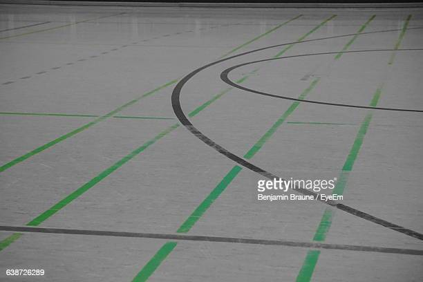 High Angle View Of Markings On Indoors Basketball Court