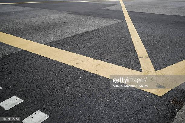 High Angle View Of Markings On Street