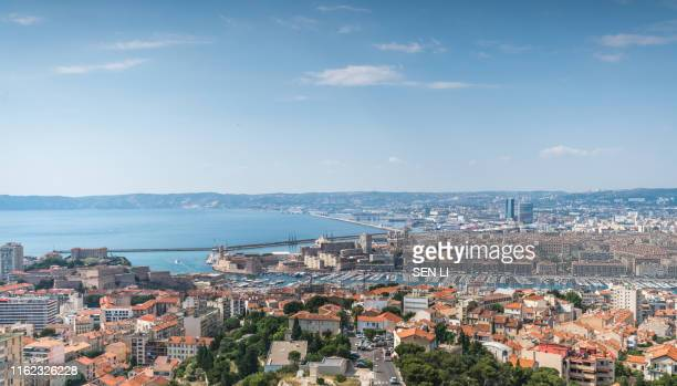 high angle view of marseille cityscape against clear sky - bouches du rhone stock pictures, royalty-free photos & images