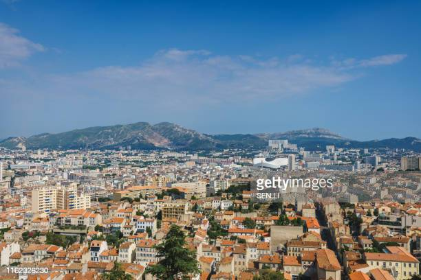high angle view of marseille cityscape against clear sky - marseille photos et images de collection