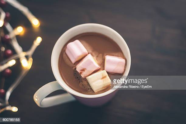 High Angle View Of Marshmallows In Hot Chocolate