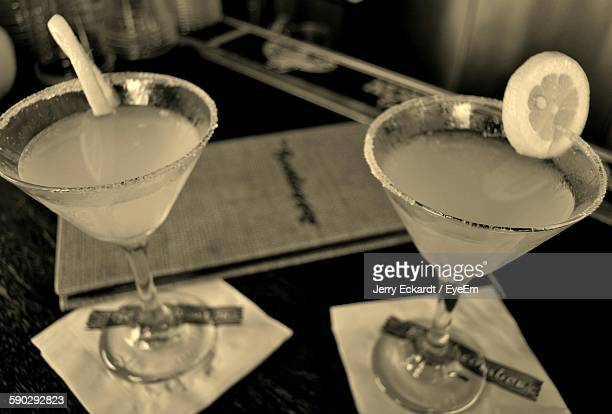 High Angle View Of Martinis Served On Table