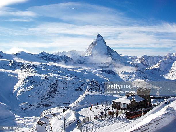 High Angle View Of Matterhorn And The Gornergrat Railway Station Against Sky