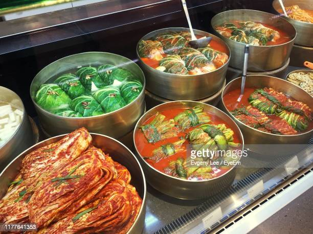 high angle view of meal in bowls on table - busan stock pictures, royalty-free photos & images
