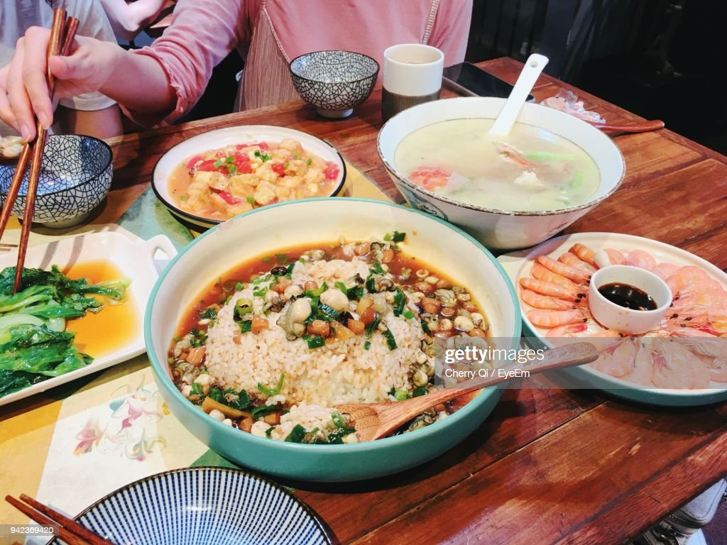 High Angle View Of Meal On Table : Stock Photo