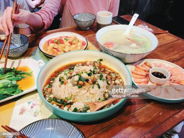 high angle view of meal on table - xiamen stock photos and pictures