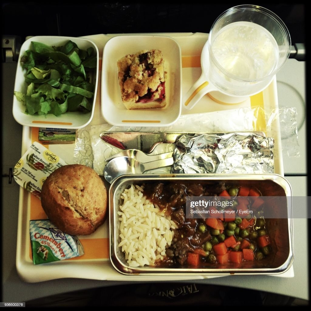High Angle View Of Meal Served In Airplane : Stock Photo