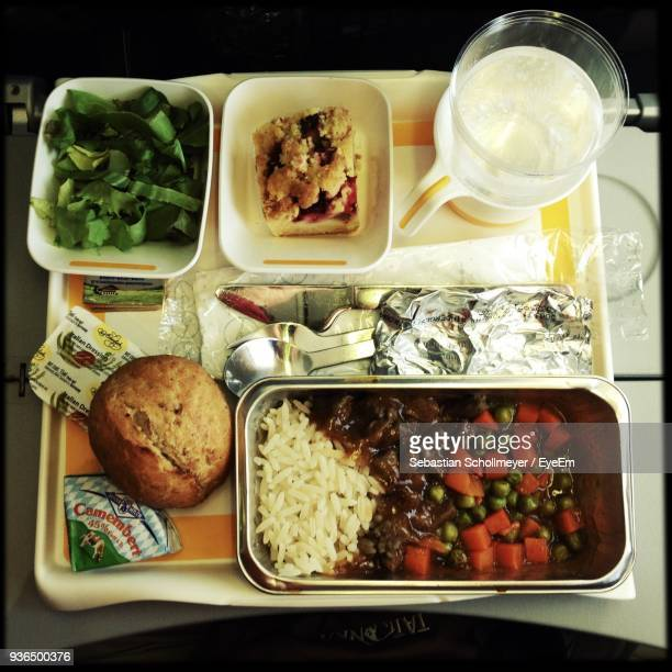 High Angle View Of Meal Served In Airplane