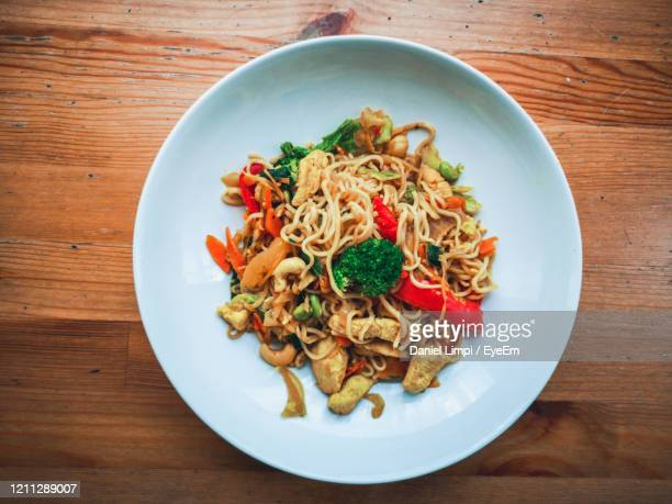 high angle view of meal served in plate - elevated view stock pictures, royalty-free photos & images