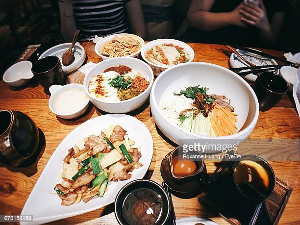 High Angle View Of Meal Served On Table In Restaurant