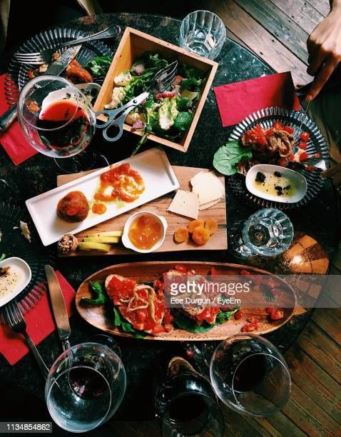 high angle view of meal served on table - kadikoy stock photos and pictures