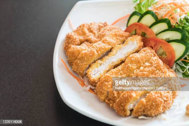 high angle view of meal served on table - tonkatsu photos et images de collection