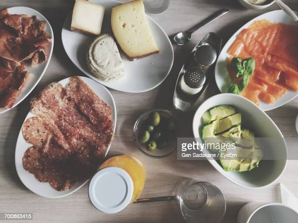 High Angle View Of Meal Served On Table