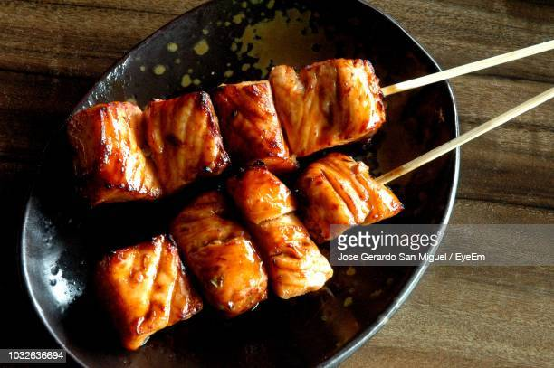 high angle view of meat in plate on table - san stock pictures, royalty-free photos & images
