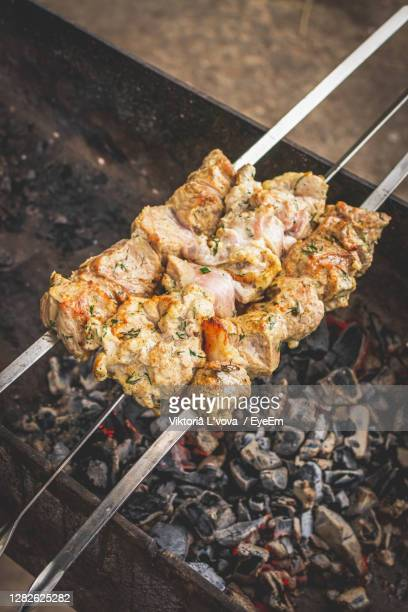 high angle view of meat on barbecue grill - tikka masala stock pictures, royalty-free photos & images