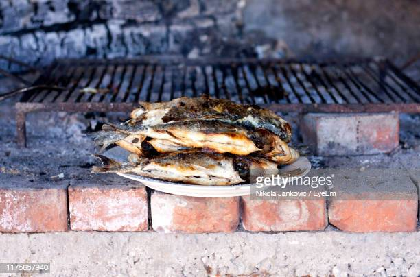high angle view of meat on barbecue - croatia stock pictures, royalty-free photos & images
