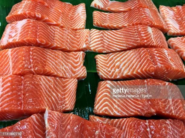 High Angle View Of Meat Slices On Leaf