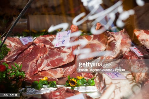 High Angle View Of Meats Stack With Labels At Store