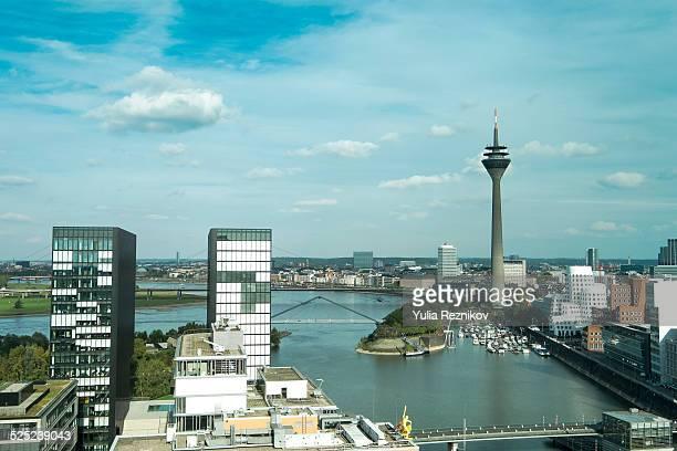 high angle view of media harbor in düsseldorf - medienhafen stock-fotos und bilder