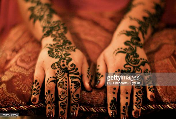 High Angle View Of Mehendi On Hand
