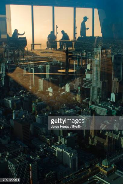 High Angle View Of Melbourne From Window