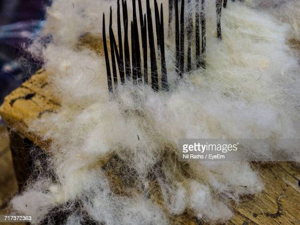 High Angle View Of Messy Fabric On Table