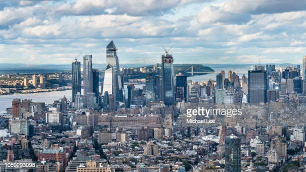 high angle view of midtown manhattan - new york - george washington bridge stock pictures, royalty-free photos & images