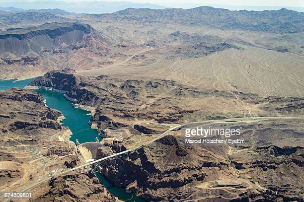 High Angle View Of Mike O Callaghan Pat Tillman Memorial Bridge Over Colorado River