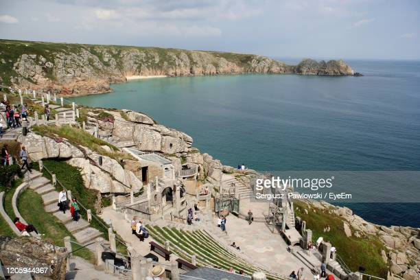 high angle view of minack theatre at seaside - minack theatre stock pictures, royalty-free photos & images