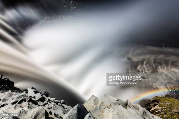 High angle view of mist rising from Dettifoss Falls, Myvatn, Iceland