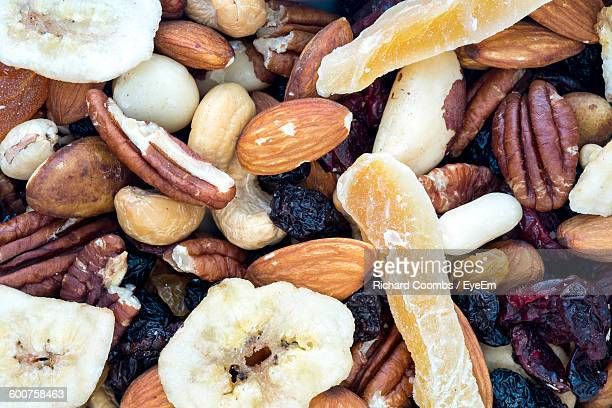 High Angle View Of Mixed Dried Fruits