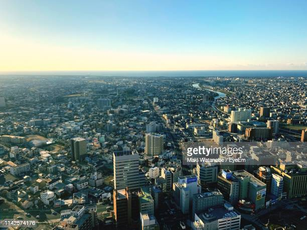 high angle view of modern buildings against clear sky - 静岡市 ストックフォトと画像