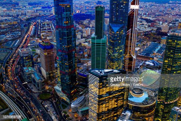 high angle view of modern buildings in city - moskau stock-fotos und bilder