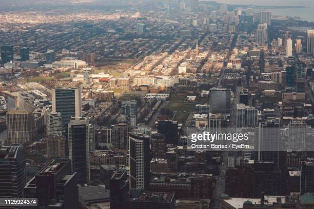 high angle view of modern buildings in city - bortes foto e immagini stock