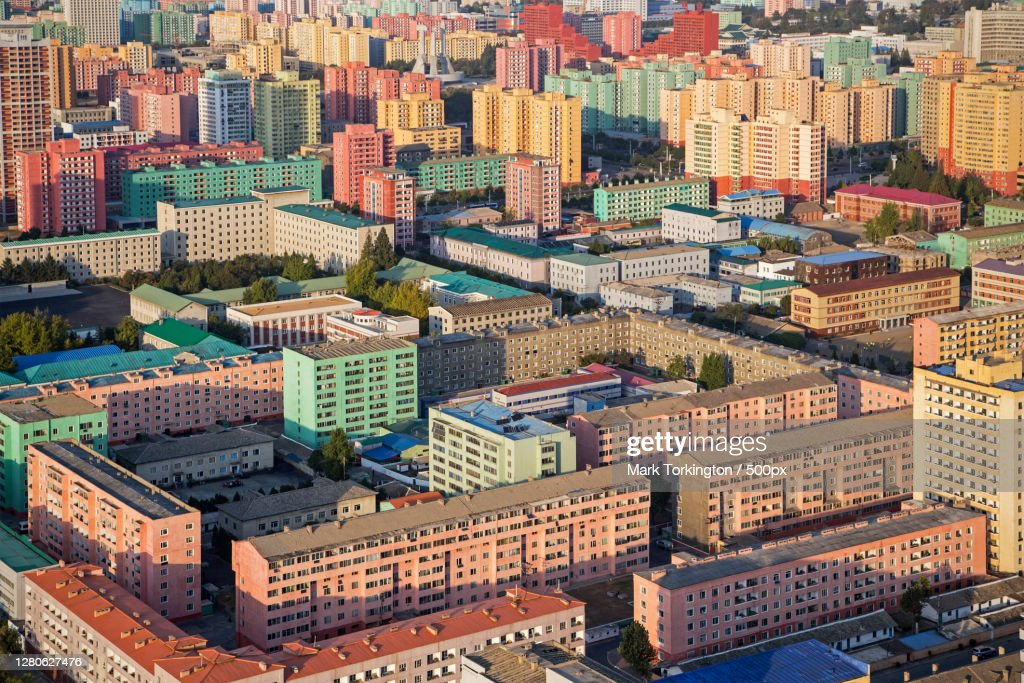 High angle view of modern buildings in city,Pyongyang,North Korea : Stock Photo