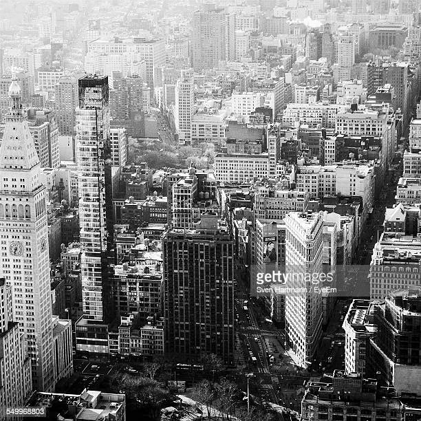 High Angle View Of Modern Cityscape From Empire State Building