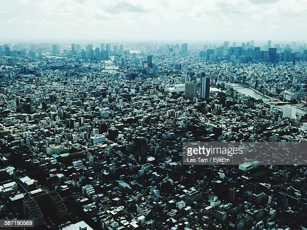 High Angle View Of Modern Cityscape Seen From Tokyo Tower