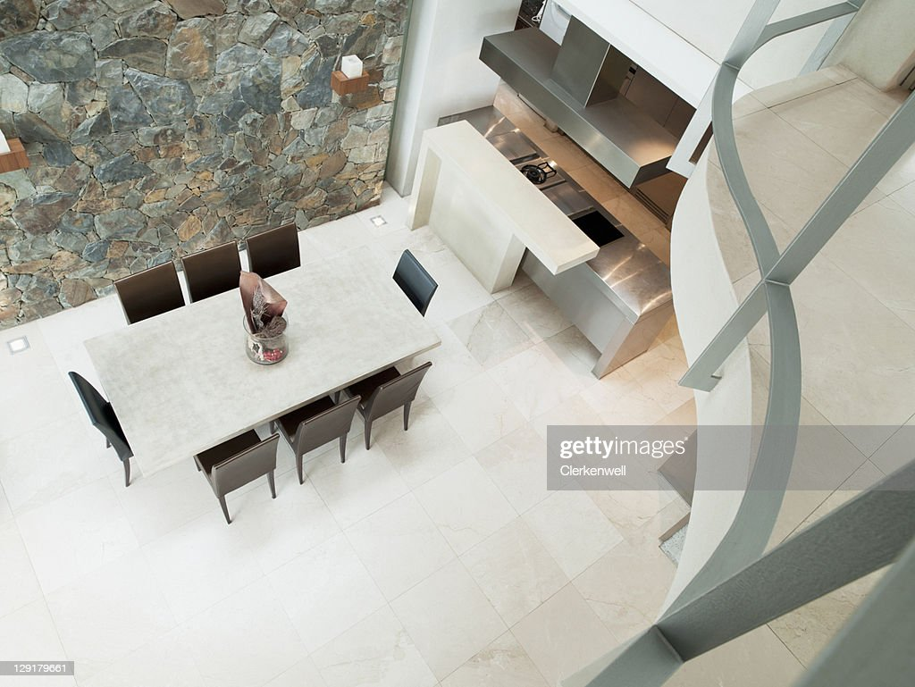 High Angle View Of Modern Dining Room With Dining Table High Res Stock Photo Getty Images